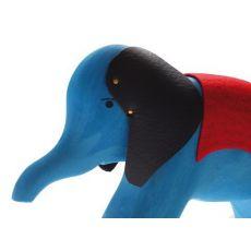 Drewniany Słoń na kółkach 1+, niebieski, Grimm's