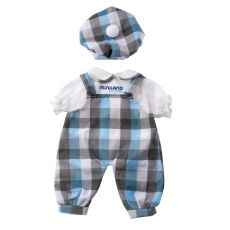 Ubranka dla lalki - Jumper w niebieską kratę z białą koszulą i beretem