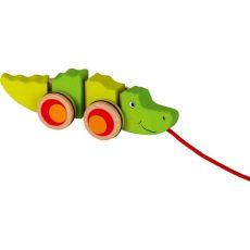 Drewniany krokodyl do ciągnięcia