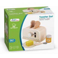 Biały drewniany toster dla dzieci