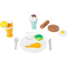 Drewniany zestaw jedzenia - lunch z deserem