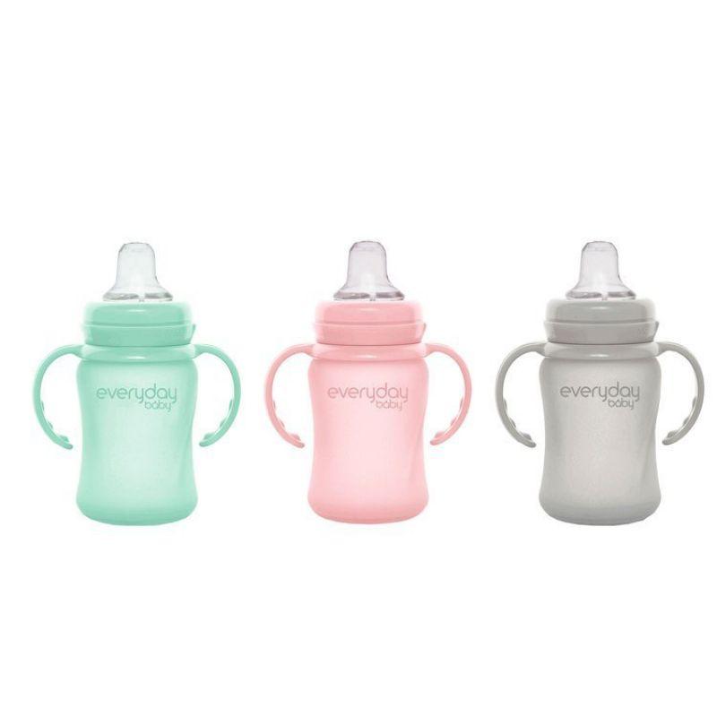 Szklana butelka z ustnikiem niekapkiem i rączkami, 150 ml, miętowa, Everyday Baby