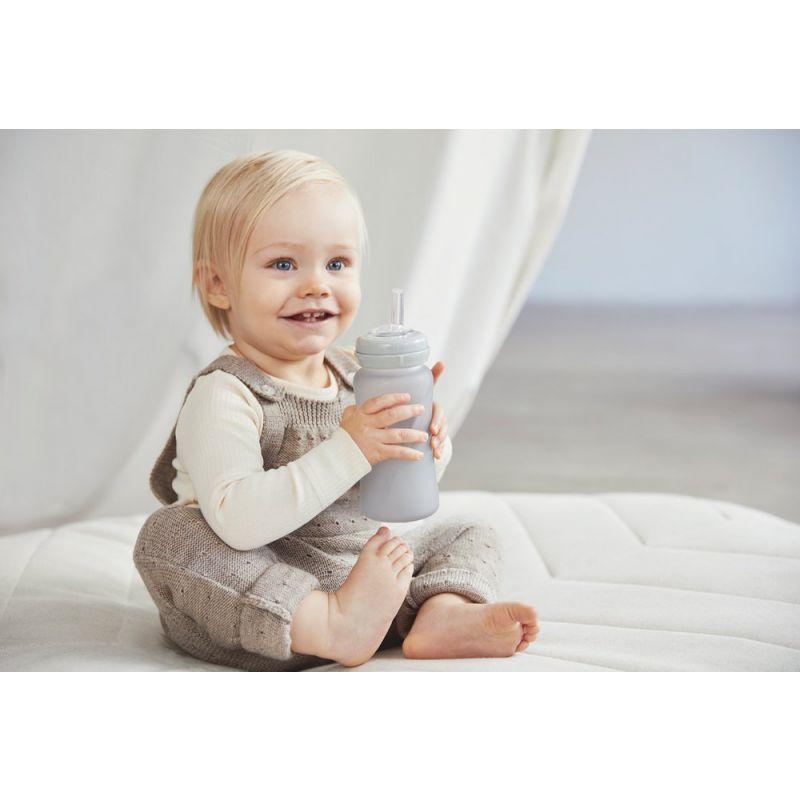 Szklany bidon ze słomką 240 ml, szary, Everyday Baby