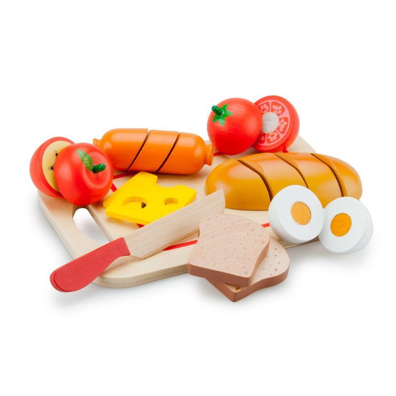 Zestaw śniadaniowy - drewniane jedzenie do krojenia