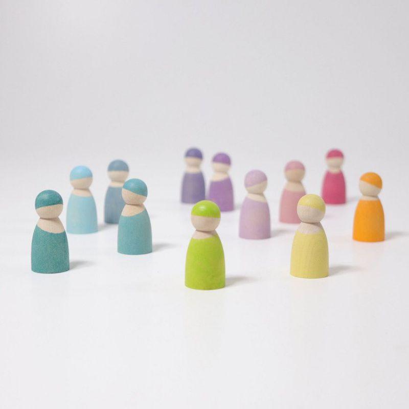 Drewniane figurki 12 szt., Przyjaciele 1+, pastelowe, Grimm's