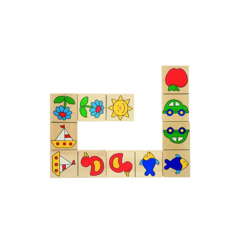 Drewniane domino w drewninanym pudełku