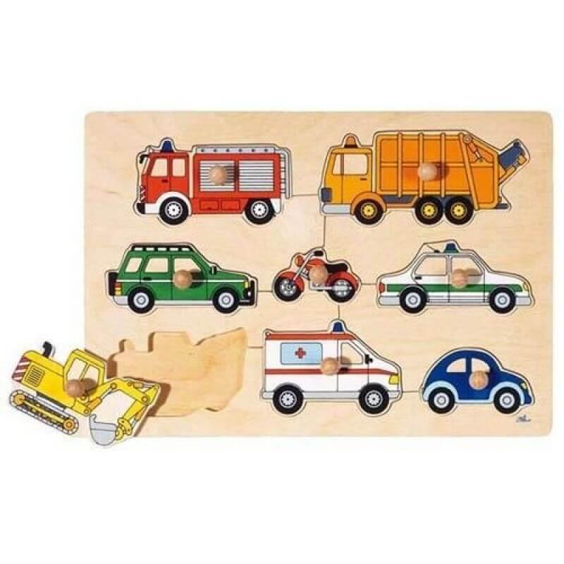 Puzzle środki transportu z drewna ekologicznego