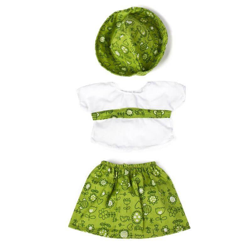 Ubranka dla lalki 40 cm - Zielona spódniczka z kapeluszem
