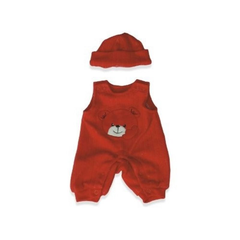 Ubranka dla lalek 40 cm - Czerwony śliniaczek z kapeluszem