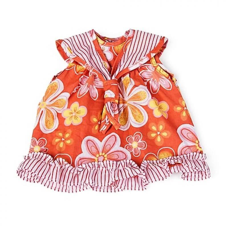 Ubranka dla lalek 40 cm - pomarańczowa sukienka