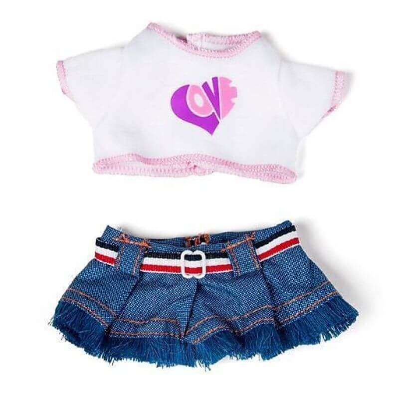 Ubranka dla lalek 21 cm - Bluzeczka i dżinsowa spódniczka dla małej lalki