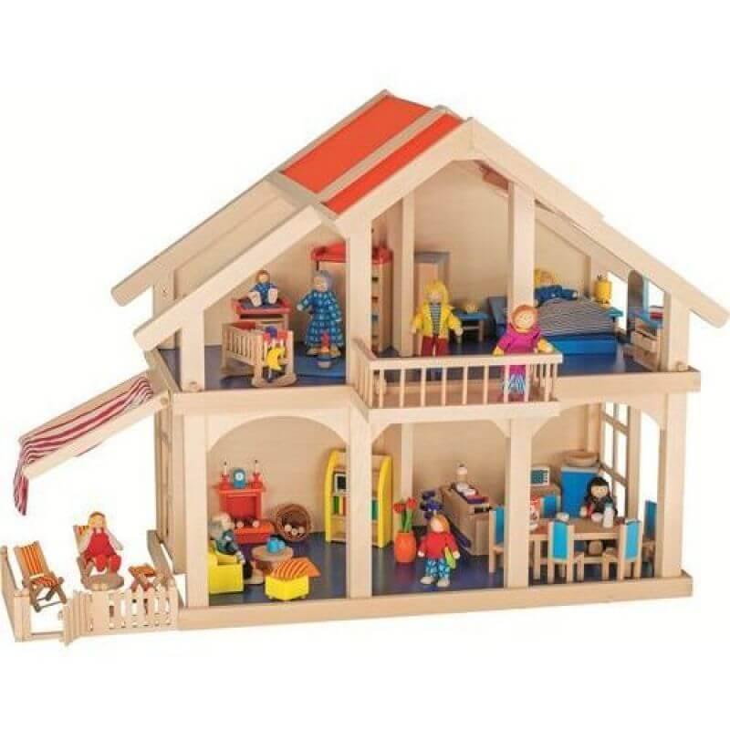 Drewniany domek dla lalek z werandą i balkonem , dwa piętra