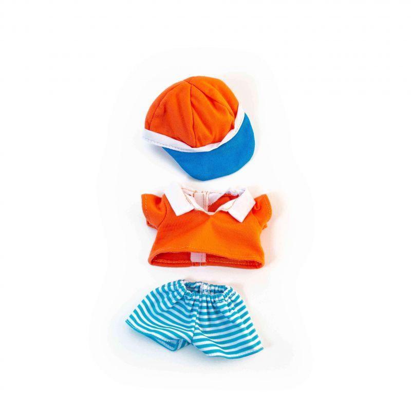 Ubranko dla lalki 21 cm spódniczka, bluzka, czapeczka