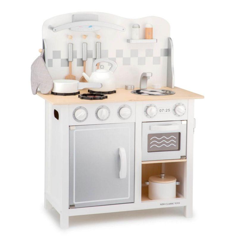 Drewniana kuchnia dla dzieci - Srebrna kuchnia Lux