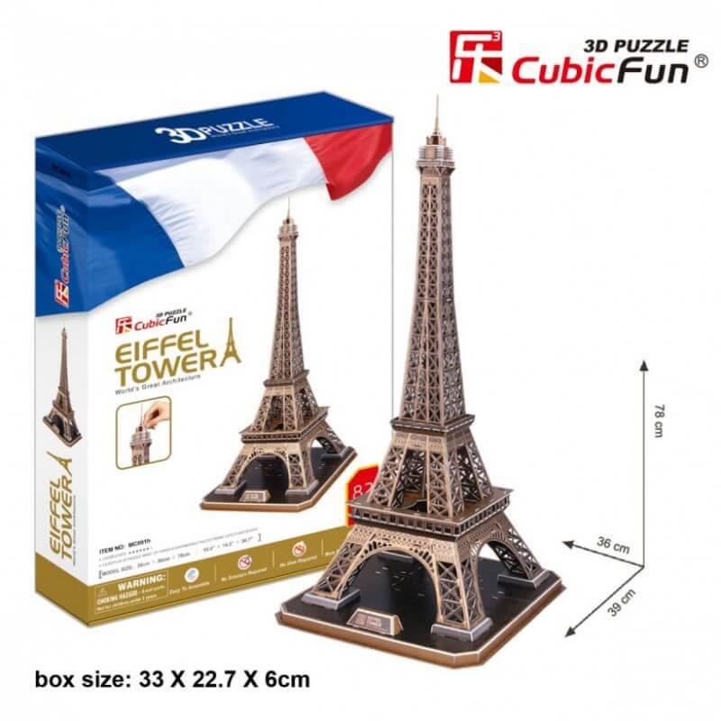 Puzzle 3D LED Wieża Eiffla Zestaw XL 82 el