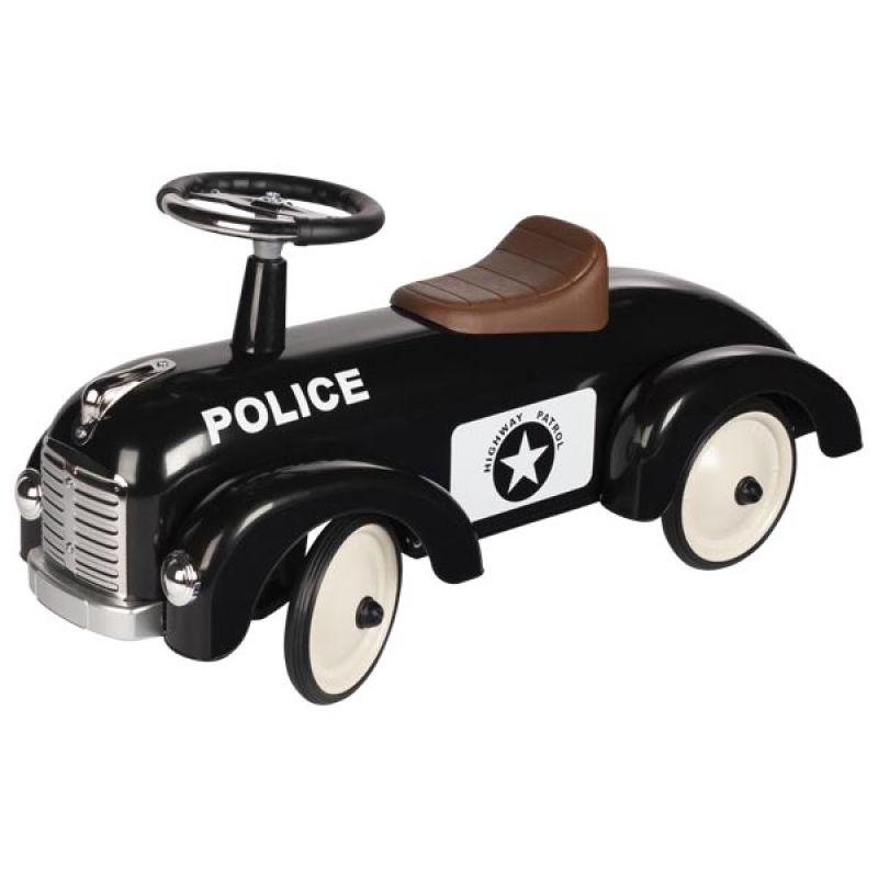 Jeździk do odpychania nóżkami - Policja - czarne metalowe autko