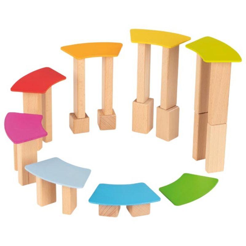 Klocki drewniane z drewnianymi kartami