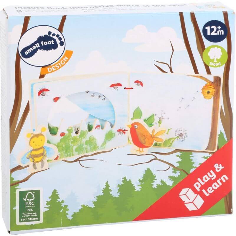 Drewniana książeczka dla niemowląt Ptaszki i Owady