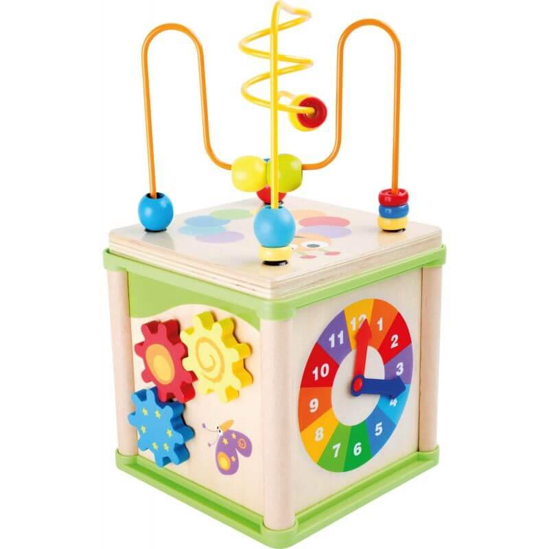 Sześcian edukacyjny, zegar - manipulator dla niemowląt