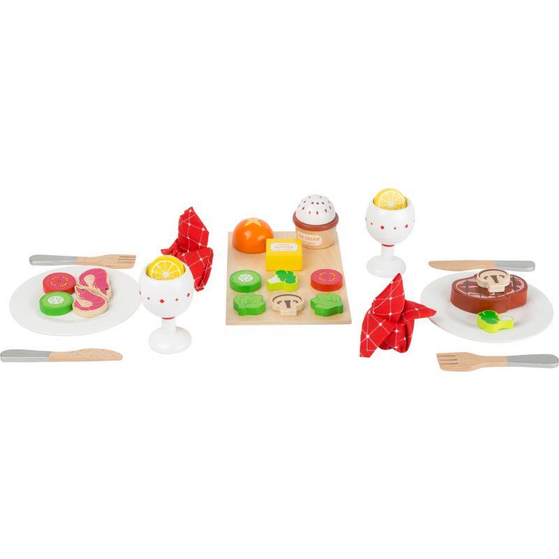 Drewniany zestaw obiadowy - kompletne drewniane jedzenie