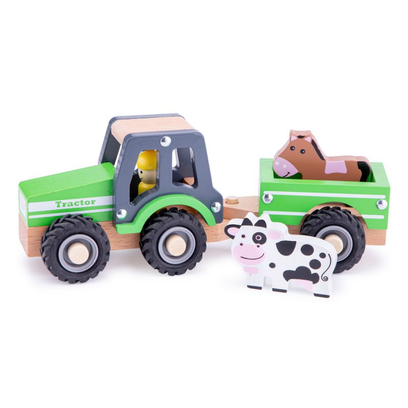 Traktor z przyczepą i zwierzętami