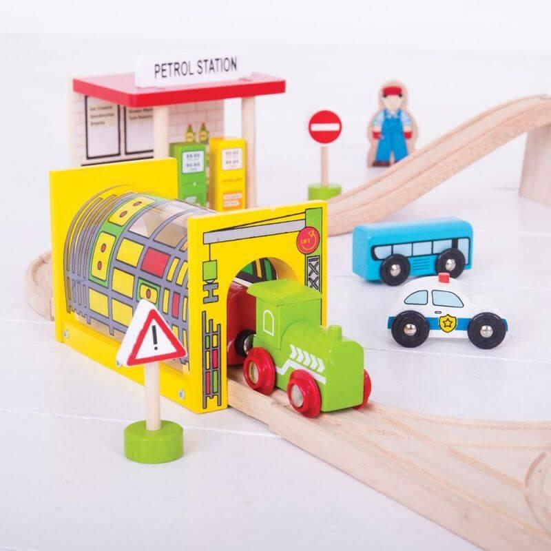 Kolejka drewniana zestaw środki transportu 125 elementów