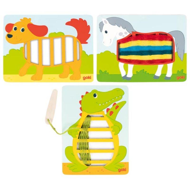Sznurowanka dla dzieci - piesek, konik, krokodyl