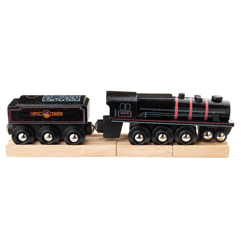 Czarna lokomotywa - pociąg parowóz z drewna