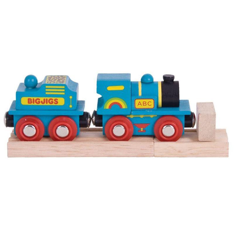 Niebieska lokomotywa do kolejek drewnianych BigJigs