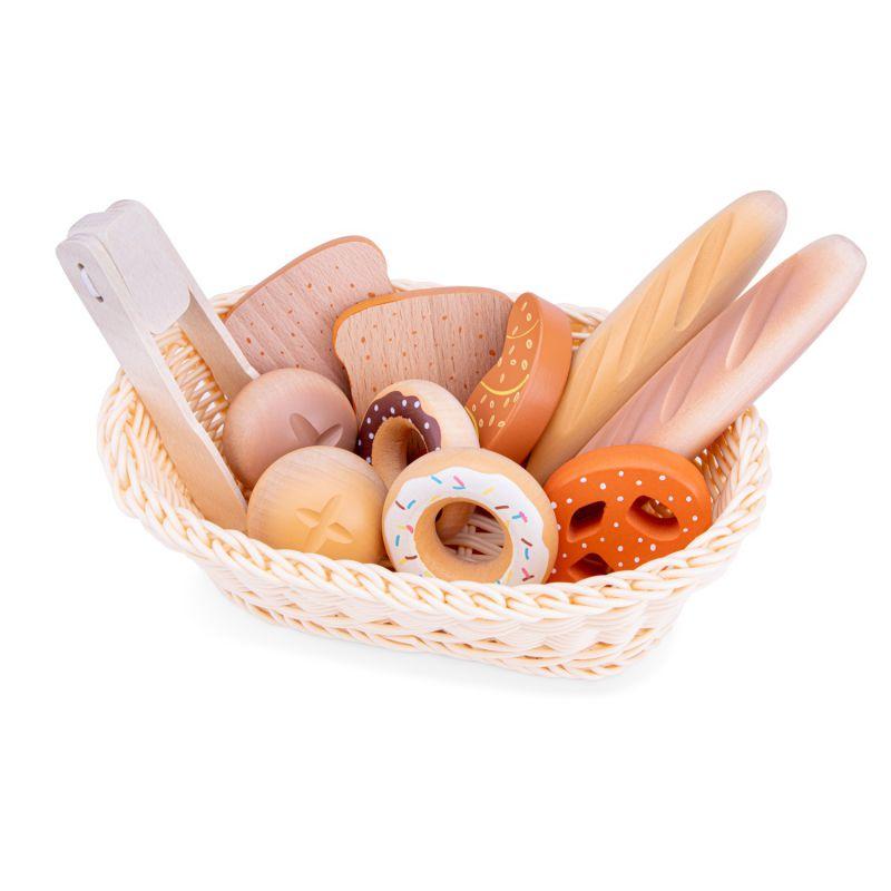 Drewniane pieczywo w koszyczku - 12 elementów