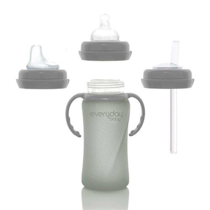 Szklana butelka ze smoczkiem M, 240 ml, szara, Everyday Baby